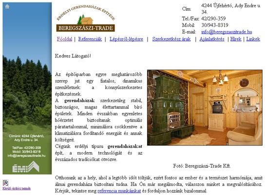 A Beregszászi Gerendaházak weboldala a munka kezdetekor, 2009-ben.